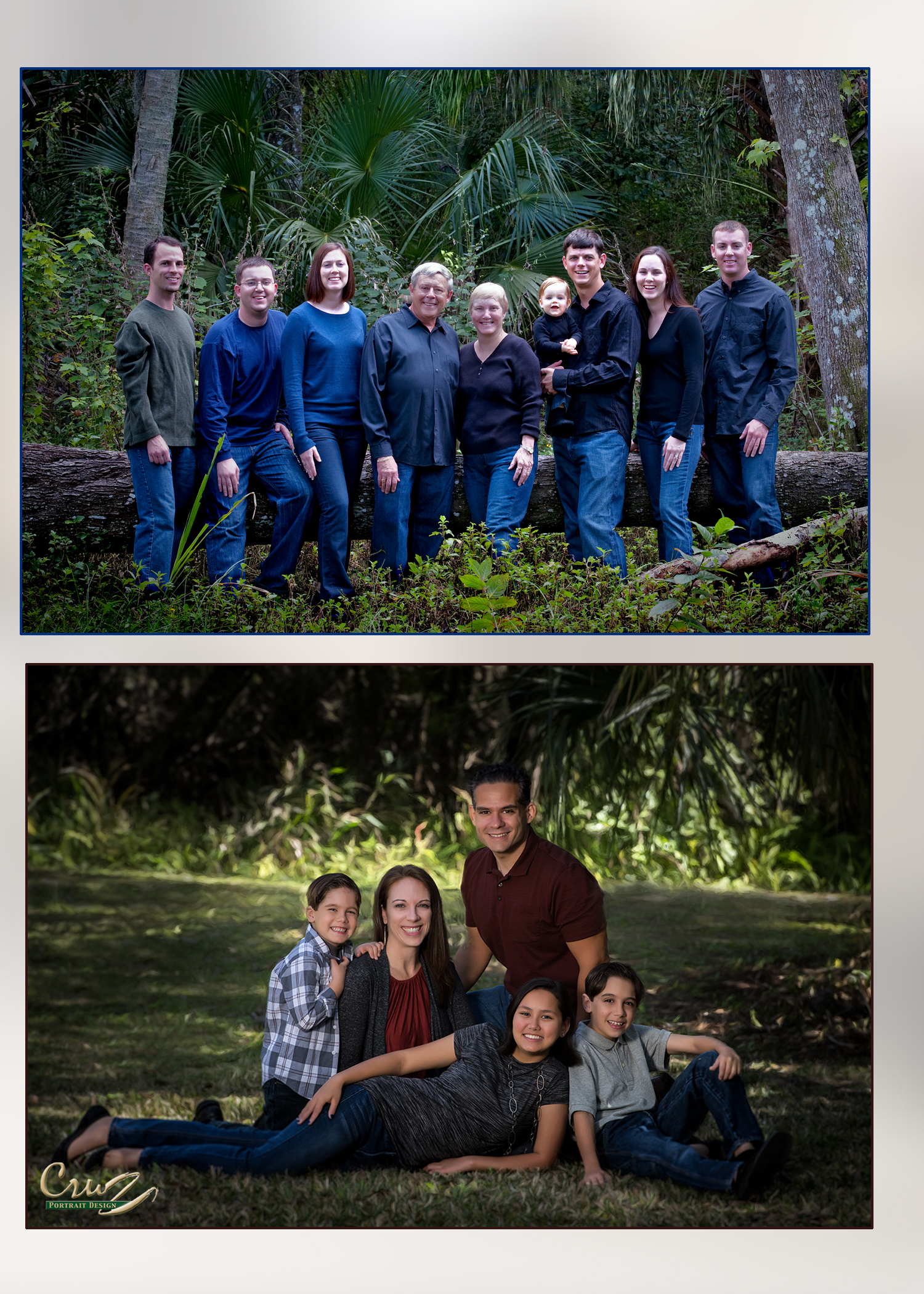 Family Portraits outdoors at our studio dark clothing