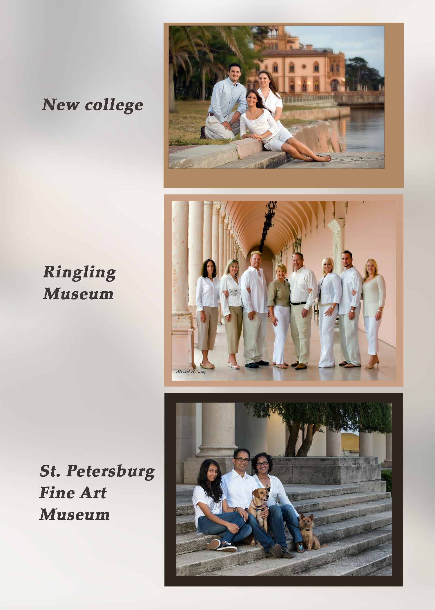 Family Portraits on location, New College, Ringling Museum, St. Petersburg Art Museum